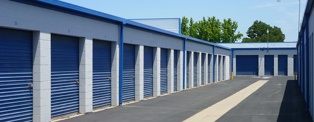 Blue self storage doors